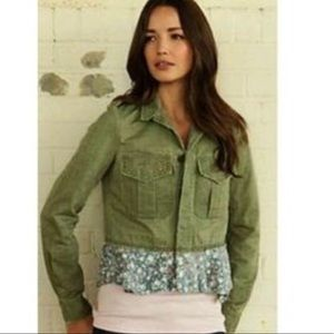 FREE PEOPLE Green Military Utility Peplum Jacket
